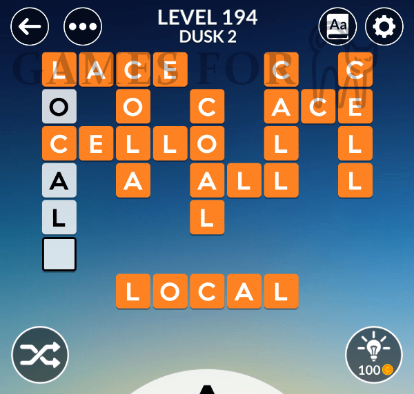 Wordscapes Level 194 Answers All Modes Games For Cats
